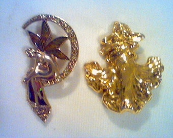 Lot of 2 vintage gold tone fairy fairies girl women brooches pins 1 marked LC sitting on crescent moon