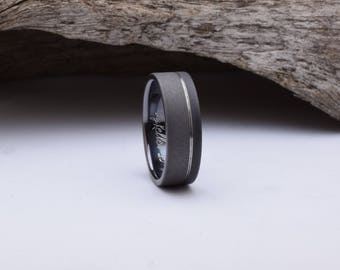 Titanium wedding band with a two tone sandblasted finish, black mens wedding band, unique wedding ring, black titanium ring