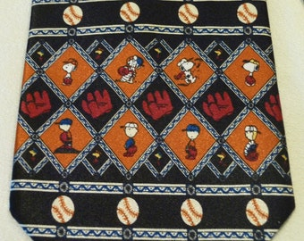 Vintage Tie - For the Snoopy and Baseball Lover - Featured Colours are Black, Rust and White - Gift for Him - Hand Sewn