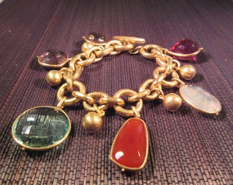 Very Cool Heavy Brass Multi Gemstone Bracelet
