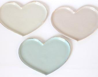 Heart porcelain trinket plate : Gold rim