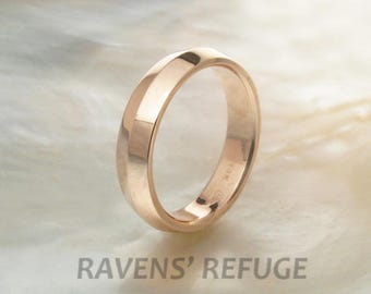 rose gold ring -- eco friendly knife edge wedding band for men or women
