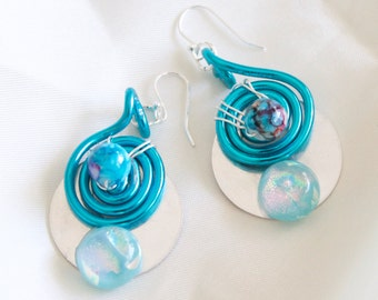 Sterling Dichroic glass and bead dangle earrings with blue spiral whirl