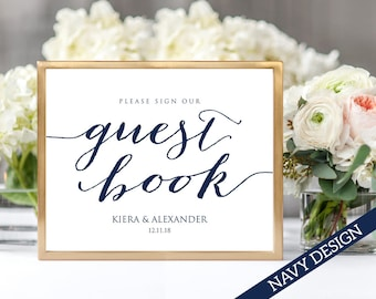 Please Sign Our Guest Book Wedding Sign, 8x10 Wedding Sign Instant Download, DIY Sign Printable, Wedding Reception Sign