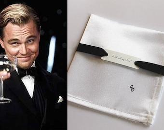 Personalized Groom Gift, Satin Handkerchief, Monogram Handkerchief, Great Gatsby Accessories, Black Tie Wedding, Custom Pocket Square Men