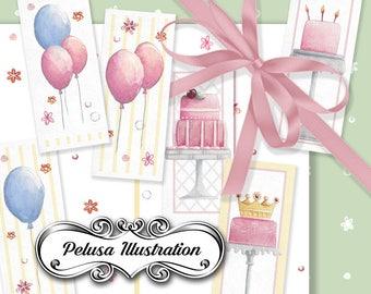 Gift Cards & Digital Paper Pack 3 - Pelusa Illustration -