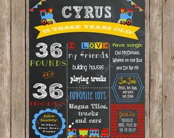 Train Birthday Sign - Chalkboard Train Birthday Poster Printable - Train Birthday Party - Boy Birthday- Digital Print - DIY Printable