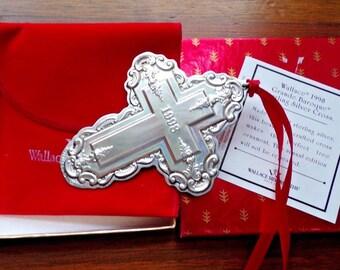 1998 Wallace Grande Baroque Sterling Silver Cross Ornament 3rd. NIB STUNNING