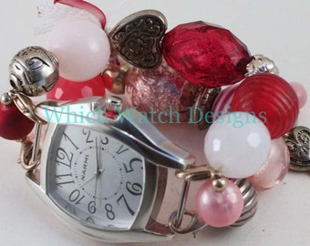 CLEARANCE Valentine WATCH SET.. Light Pink, Hot Pink and Red Beaded Watch Bracelet. Watch Face Included