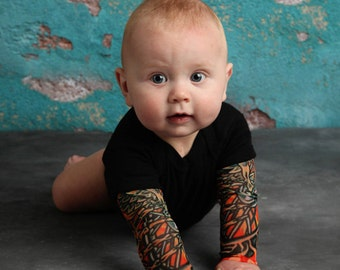 Black Bodysuit Baby Tattoo Sleeve Shirt for Babies