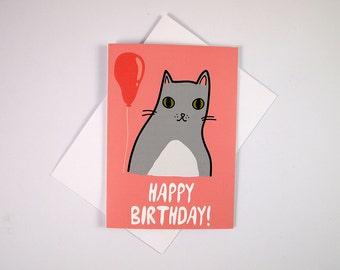 Cat Birthday Card - Happy Birthday - Birthday Card - Cat Birthday Card - I like Cats - Cats - Birthday - Cat Card - cat greetings card