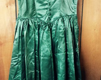 VINTAGE PARTY DRESS holiday, dance, mid century, swing skirt, emerald green, shiny fashion
