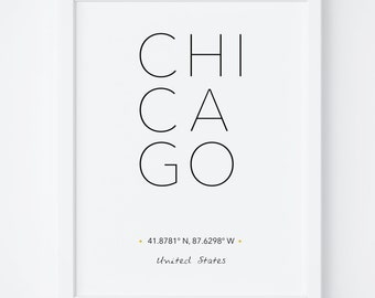 Chicago Print, Chicago Poster, Wall Art, Chicago City Poster, Chicago Printable, Chicago Art, City Coordinates, Typography art, Wall Art