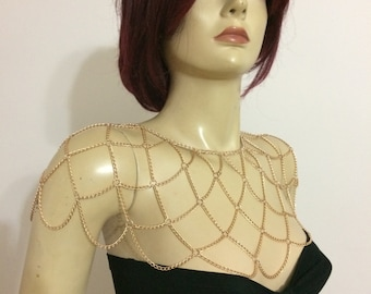 Rose Gold Shoulder Chain , Rose Gold Shoulder Necklace , Shoulder Jewelry, Chain Shawl , Body Chain, SHC1010-03