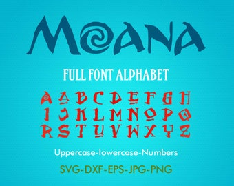 Moana font SVG, Moana svg, Moana alphabet svg, silhouette font EPS png jpg files. Disney font svg dxf for Silhouette Cameo or Cricut