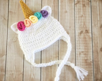 Little Miss Unicorn Hat/Unicorn Beanie/Flower Crown Unicorn Hat 0-3 Month Size- READY TO SHIP