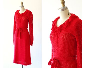 vintage 70s does 30s red knit dress / size xs small