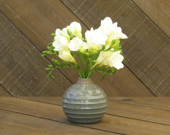 Carved Bud Vase - Celadon Glaze - Ceramic Vase - Wheel Thrown - Highfire Reduction - Go Play Clay - Allison Zimmer Guiliotis - Made to Order
