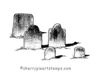 Old tombstones, graves, cemetery- CLING rubber STAMP by Cherry Pie Q537