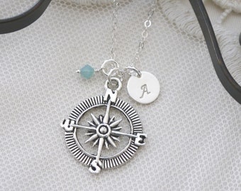 Personalized Compass Necklace, Compass Initial Birthstone Necklace, Graduations Gifts, Follow your dreams, Live your dream, Compass Gifts