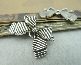 10pcs Bow Charms, 22x30mm Antique Silver Bow Charm Connector, Bowknot Charms Pendants