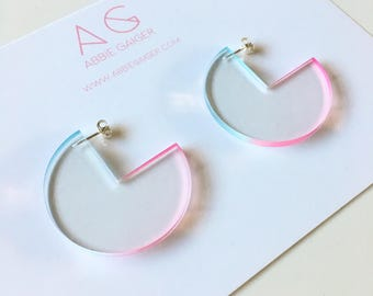 Ombre Blue and Pink Notch Circle Hoop Earrings - Bold Laser Cut Hand Dyed Dip Dyed Gradient Acrylic Perspex Geometric Earrings