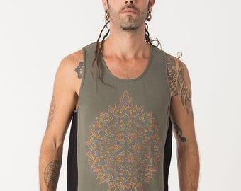 Mens Tank Top Psychedelic Mandala Printed Tank Top In Black And Green, Men Yoga Top, Black Tank