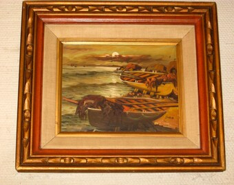 Vintage Oil Painting - Mexico  Seascape by Moonlight with Fishing Boats by Soria