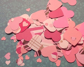 Shades of Pink Heart Confetti Table Scatter Die Cuts