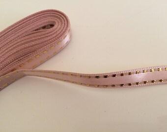 Satin ribbon 1 cm in 10 meter pink powder with Golden liseraie coupon