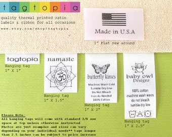 Qty 100~ HANG/FLAT Custom satin labels~ thermal printed textile/clothing tags- hanging or flat sew around