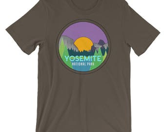 Yosemite National Park Short Sleeve T-shirt - travel, adventure, national parks, camping, hand drawn, mountains, forest