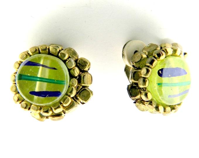 vintage green clip earrings