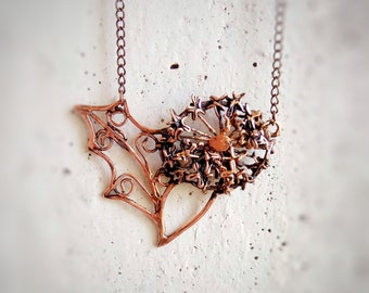 Copper dandelion necklace Floral elven necklace Wrapped boho botanical pendant Make a wish jewelry Wire wrap oxidized copper flower pendant