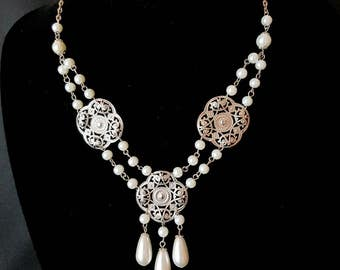 Bohemian Edwardian Pearl Necklace, Edwardian Bridal Necklace, Bohemian Bridal Necklace, Fair Trade, Vegan Friendly