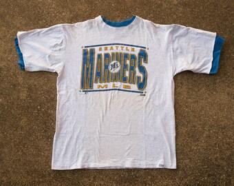 90s Mariners Shirt XL - Vintage Seattle Mariners T-Shirt XL - 1990s Vintage M's Shirt Extra Large - Ken Griffey Jr - Gray Mariners Tee Salem