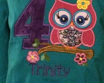 Personalized Owl Birthday shrit