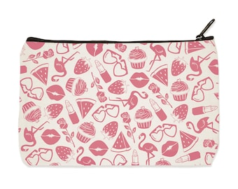 Pink Things Canvas Zip Pouch