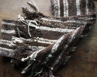 Winter Scarf, Hand Woven Scarf, Wool Scarf, Hand Spun and Hand Woven, luxury Scarf, Organic Wool, Merino