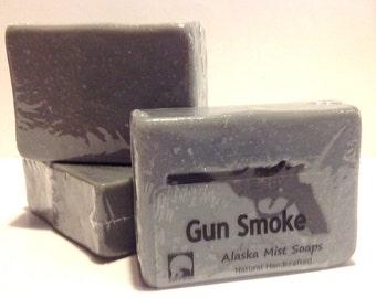 Gunsmoke, Natural Soap, Cold Process Soap, Hunter's Soap, Vegan Natural Soap, Vegan Handmade Soap, Artisan Soap, Gun Soap, Wedding Favors