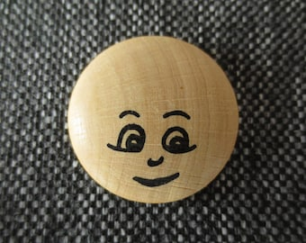 Face cabochon / disc domed wooden 3 cm in diameter