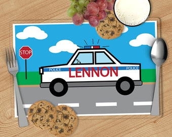 Police Car - Kids Personalized Placemat, Customized Placemats for kids, Kids Placemat, Personalized Kids Gift