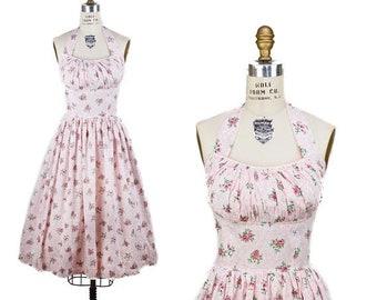 ON SALE 1950s Dress // Halter Shelf Bust Pink Floral Full Skirt Summer Dress