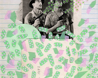 Mint Green Collage, Mixed Media Artworks Using Vintage Pictures, Posca Pens, Found Paper Ephemera And Pastel Colours Japanese Washi Tape