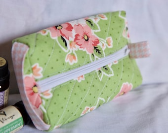 Cosmetic Floral Zipper Pouch
