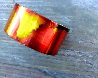 Brass cuff bracelet in orange yellow and red//brass//cuff//cuff bracelet//bracelet//ladies cuff//alcohol ink//orange//yellow//red