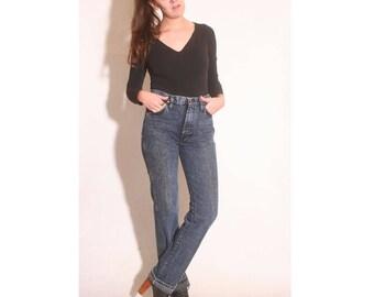 Vintage 1980s Wrangler Dark Acid Wash High Waisted Long Denim Jeans size 30 34