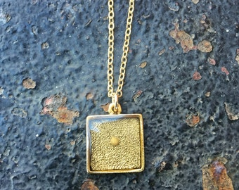 Faith the Size of a Mustard Seed Scripture 15 mm SQUARE Antique Gold Bezel Setting Pendant Charm Necklace