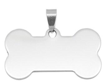BONE pendant in stainless steel 40 x 29 mm