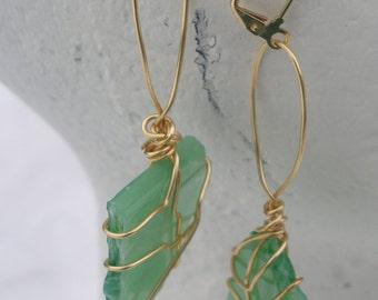 Wire Wrapped Spring Green Glass Pierced Earrings